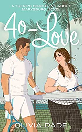 A man in a white tennis outfit and a woman in a white v-neck and black capri leggings stand on either side of a tennis net. The man has brown hair and a wide smile. The woman has brown pigtails, a full body and a dipped smile. Behind them is an aquamarine sky and palm trees.