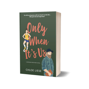 "Photo of paperback standing upright. ""Only When It's Us"" by Chloe Liese"